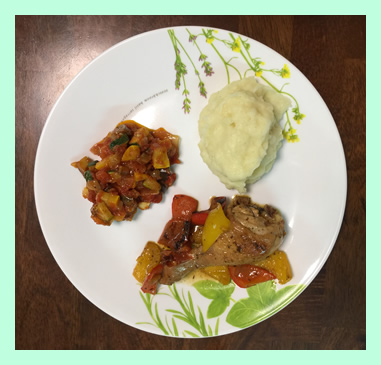 ratatouille with mashed-potato and paprika-chicken
